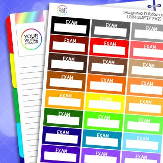 Exam Quarter Boxes Planner Stickers