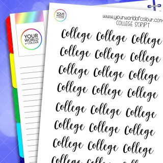 College Script Planner Stickers