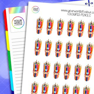 Coloured Pencils Planner Stickers