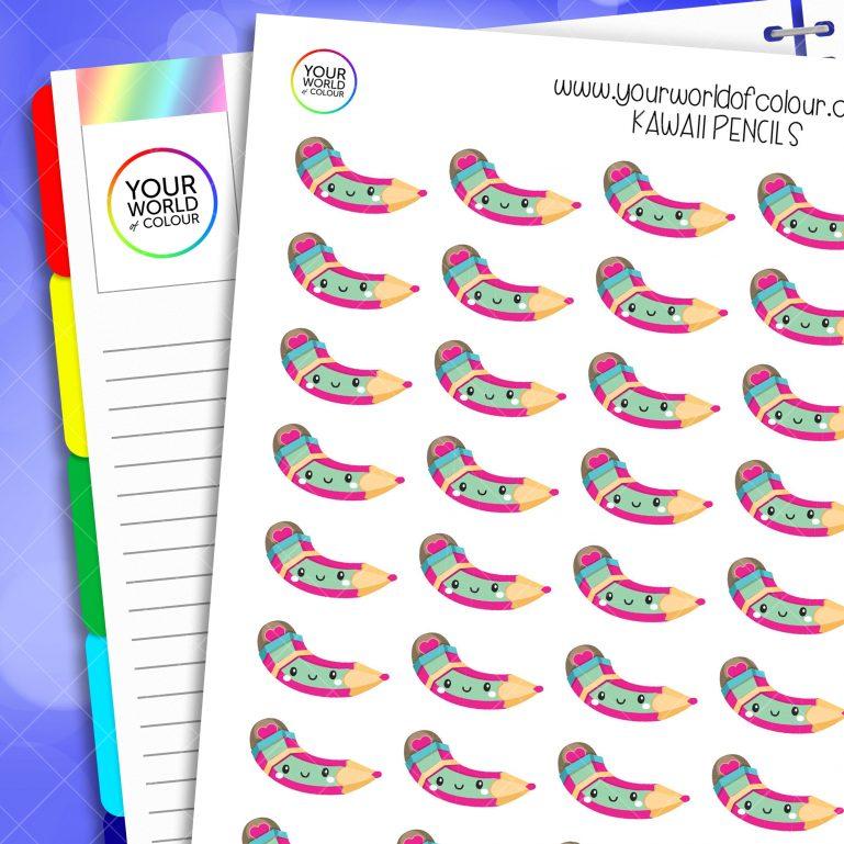 Kawaii Pencils Planner Stickers