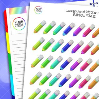 Rainbow Pencil Planner Stickers