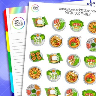 Mixed Food Plates Planner Stickers