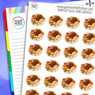 Burger, Eggs and Wedges Planner Stickers