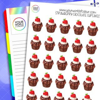 Strawberry Chocolate Cupcake Planner Stickers