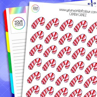 Candy Cane Planner Stickers