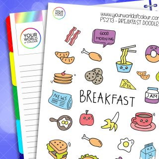 Breakfast Doodles Planner Stickers
