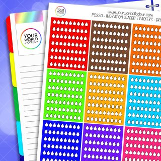 Brights Hydration Header Trackers Planner Stickers