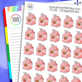 Strawberry Milk Planner Stickers