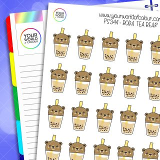 Boba Tea Bear Planner Stickers