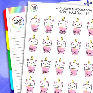 Boba Tea Kitty Planner Stickers