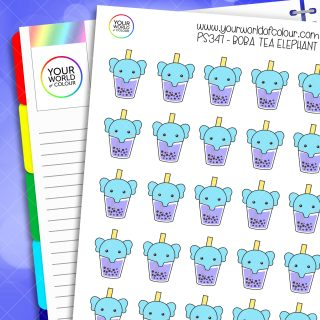 Boba Tea Elephant Planner Stickers