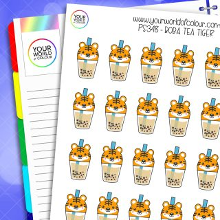 Boba Tea Tiger Planner Stickers