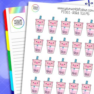 Boba Tea Pig Planner Stickers