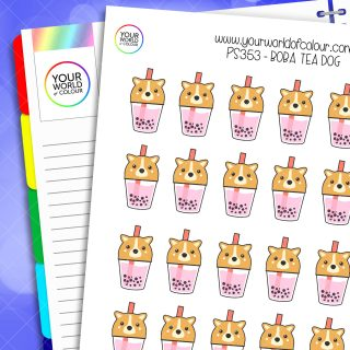 Boba Tea Dog Planner Stickers