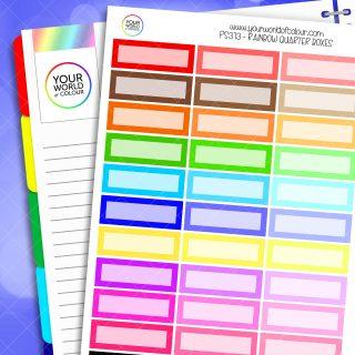 Rainbow Quarter Box Planner Stickers