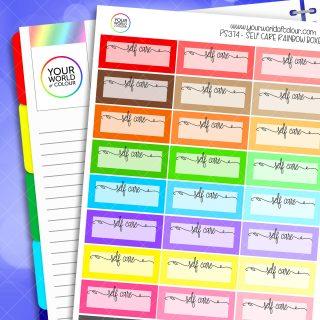 Self Care Quarter Box Planner Stickers