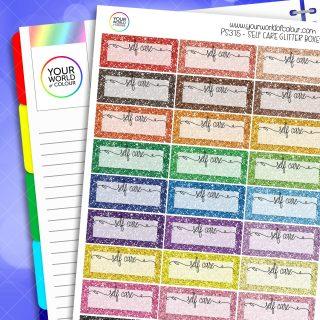 Self Care Glitter Quarter Box Planner Stickers