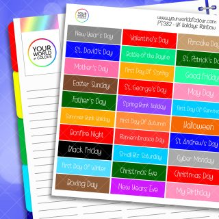 Rainbow UK Holiday Planner Stickers