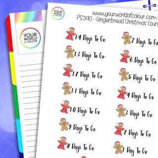 Gingerbread Christmas Countdown Planner Stickers