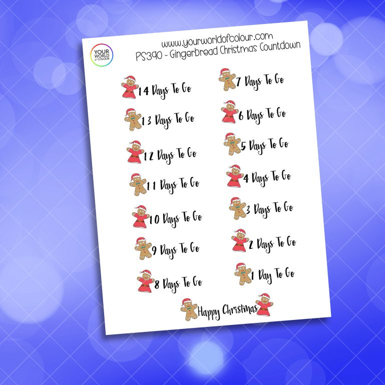 Gingerbread Christmas Countdown Stickers