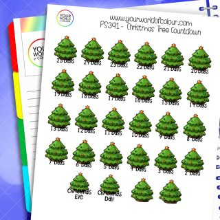 Christmas Tree Countdown Planner Stickers