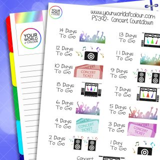 Concert Countdown Planner Stickers