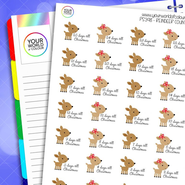 Reindeer Countdown Planner Stickers
