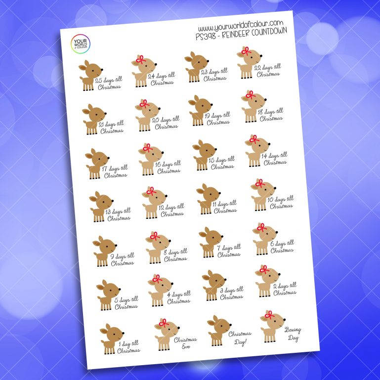 Reindeer Countdown Planner Sticker