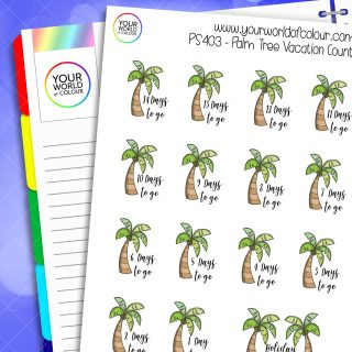 Palm Tree Countdown Planner Stickers