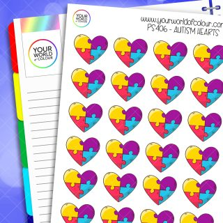 Autism Heart Planner Stickers