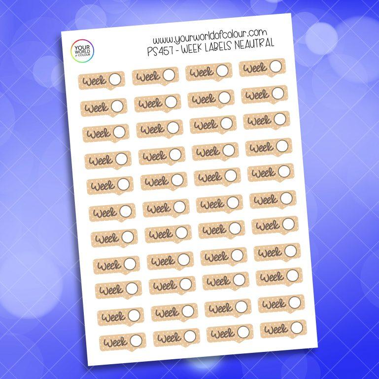 Week Label Planner Stickers
