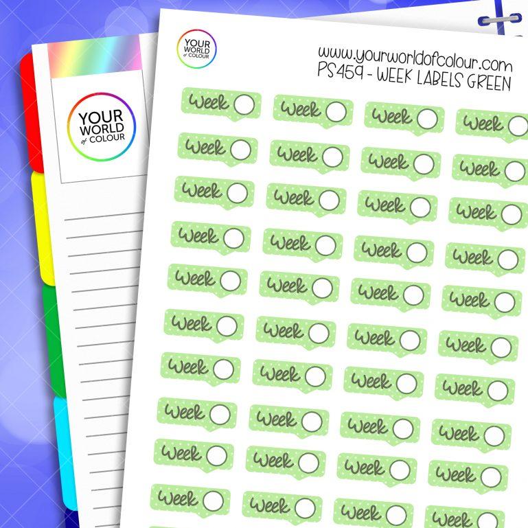 Week Label Planner Stickers - Green