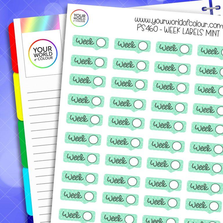 Week Label Planner Stickers - Mint