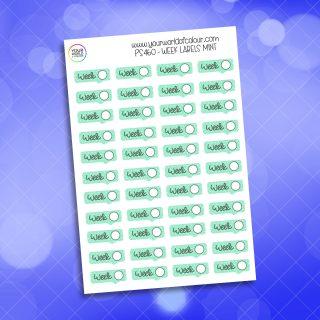 Week Label Planner Sticker - Mint