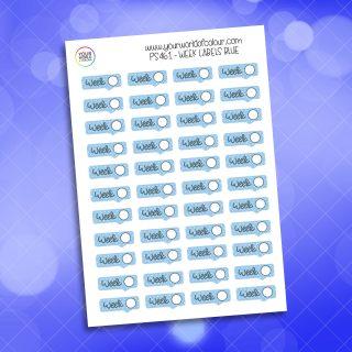 Week Label Planner Sticker - Blue