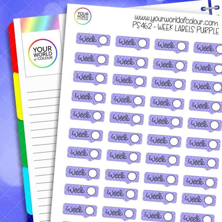 Week Label Planner Stickers - Purple