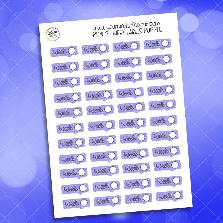 Week Label Planner Sticker - Purple