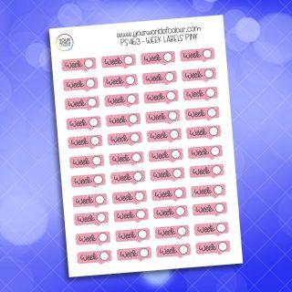 Week Label Planner Sticker - Pink