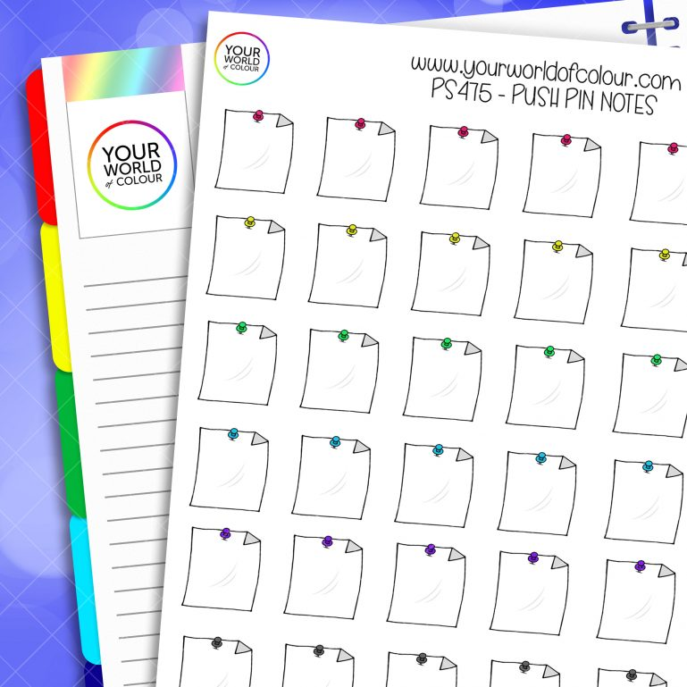 Push Pin Note Planner Stickers