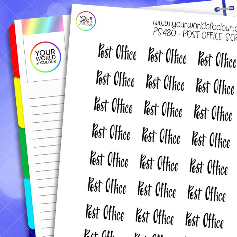 Post Office Script Planner Stickers