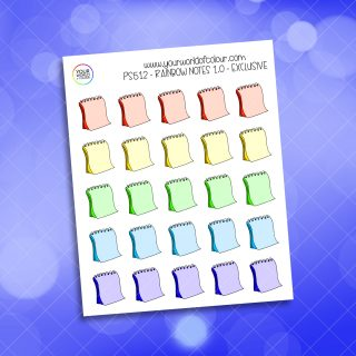Rainbow Notes Planner Stickers