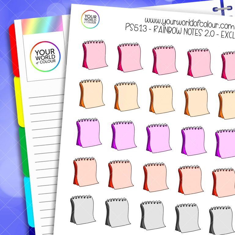 Rainbow Notes Planner Stickers 2.0