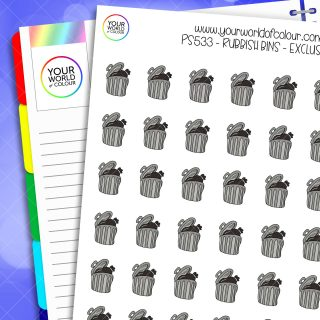 Rubbish Bin Planner Stickers