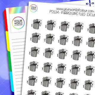 Rubbish Bin With Flies Planner Stickers