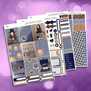 Coffee Girl Full Four Sheet Weekly Planner Sticker Kit