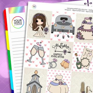 Wedding Day Erin Condren Weekly Planner Sticker Kit