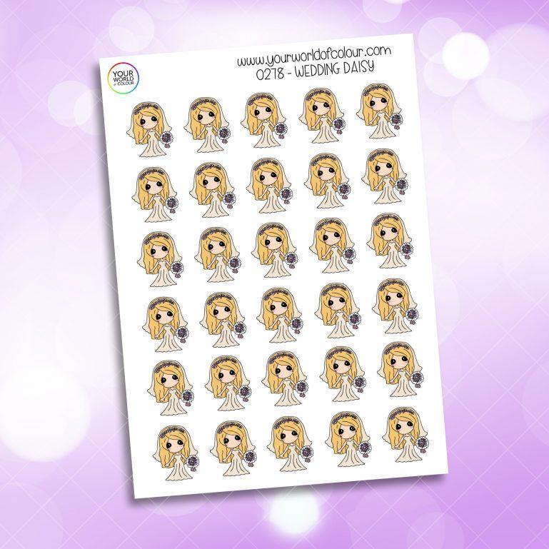 Wedding Daisy Character Sticker