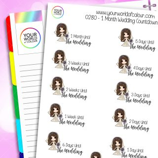 1 Month Wedding Countdown Iris Character Stickers