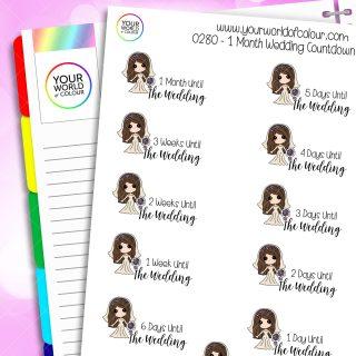 1 Month Wedding Countdown Iris Character Stickers