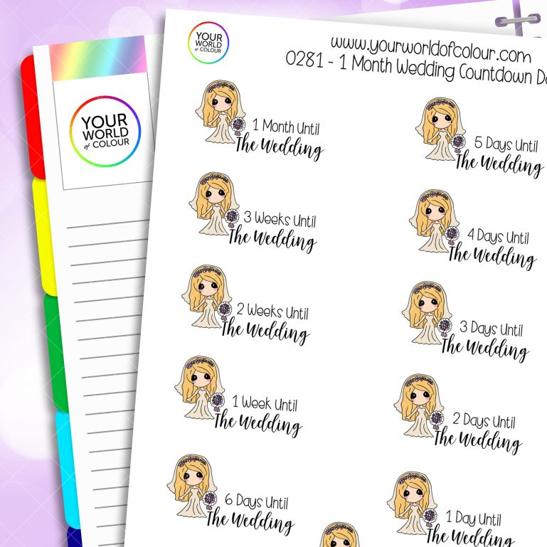 1 Month Wedding Countdown Daisy Character Stickers
